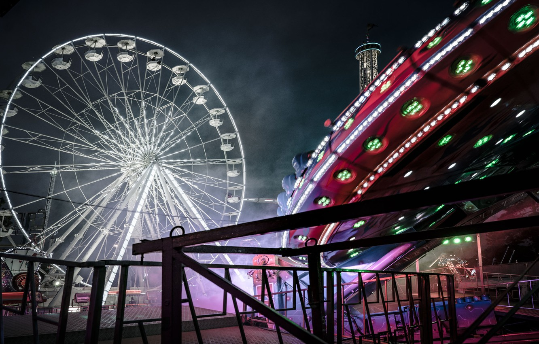 Photo wallpaper night, Ferris wheel, amusement Park, Ferris wheel, Remy Soubanere, Alphaville