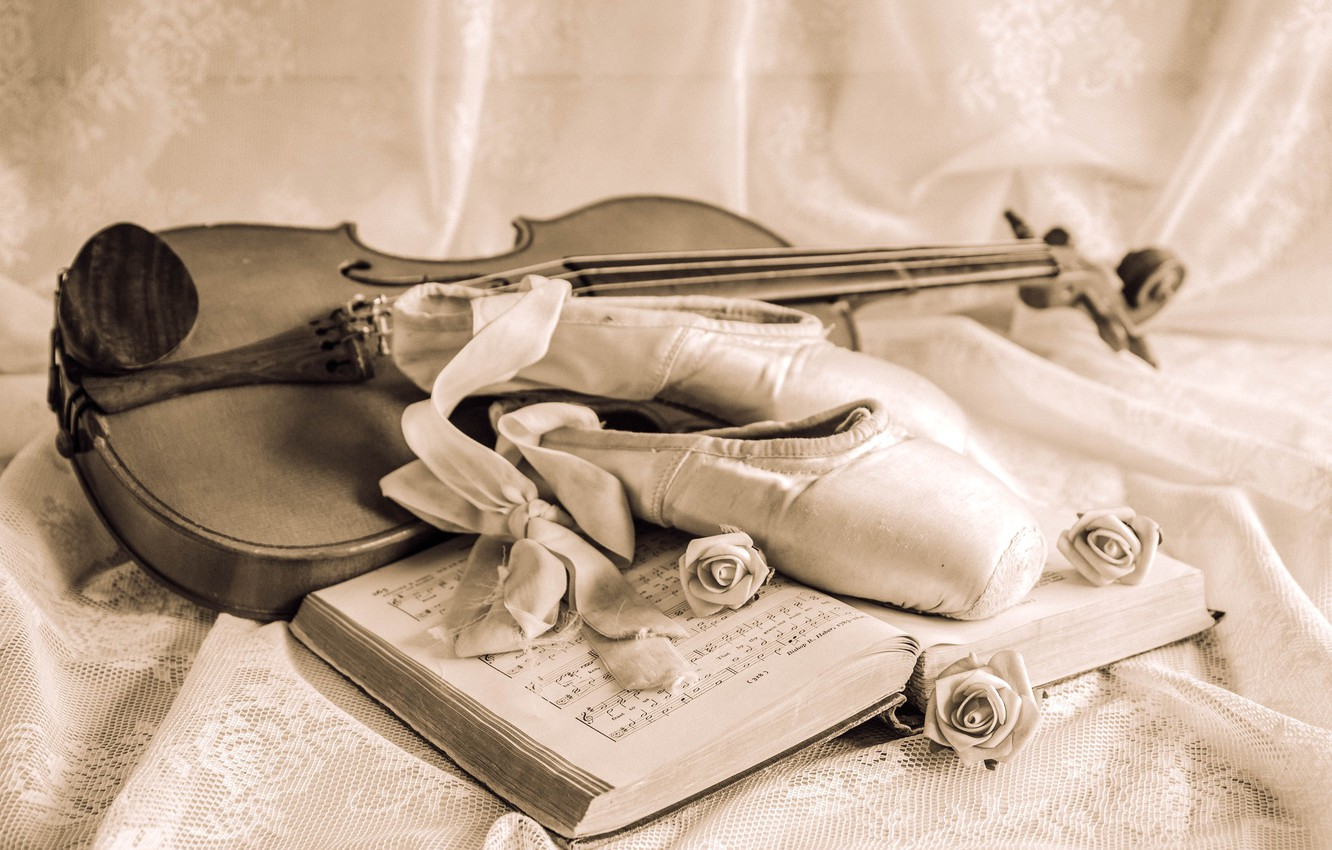 Photo wallpaper notes, violin, roses, tape, still life, vintage, Pointe shoes