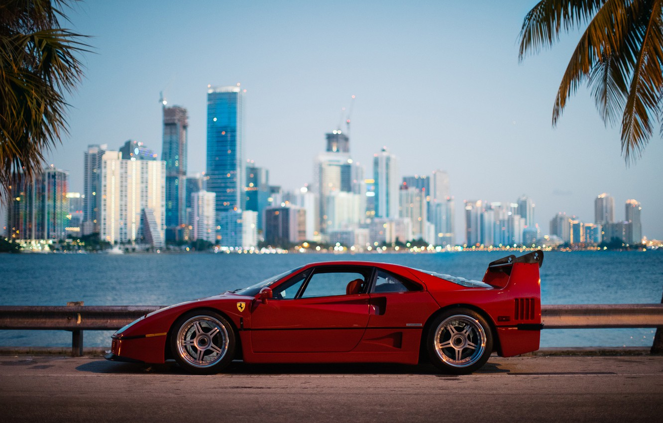Photo wallpaper the city, morning, Ferrari, F40, Florida, Miami