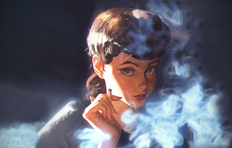 Photo wallpaper smoke, portrait, anime, actress, cigarette, character, Blade Runner, Blade runner, Sean Young, Sean Young, Ilya …