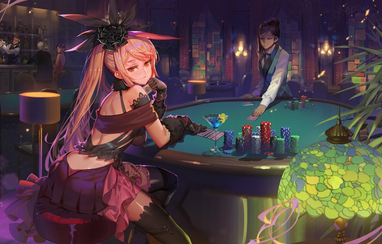 Photo wallpaper look, girl, art, hall, casino, Fate / Grand Order