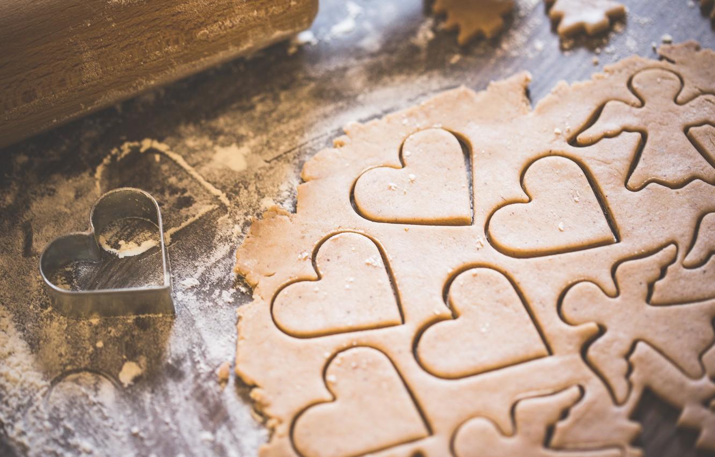Photo wallpaper heart, angel, cookies, the dough