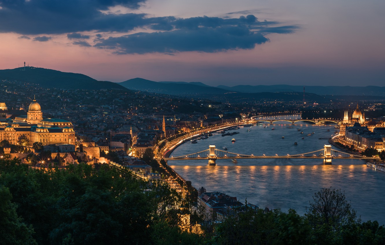Photo wallpaper river, panorama, bridges, night city, Hungary, Hungary, Budapest, Budapest, Chain bridge, Danube River, Buda Castle, ...