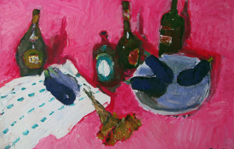 Photo wallpaper 2008, eggplant, still life, cognac, pink background, The petyaev