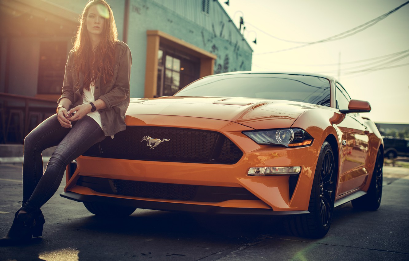 Photo wallpaper mustang, girl, ford mustang, orange, jeans, redhead