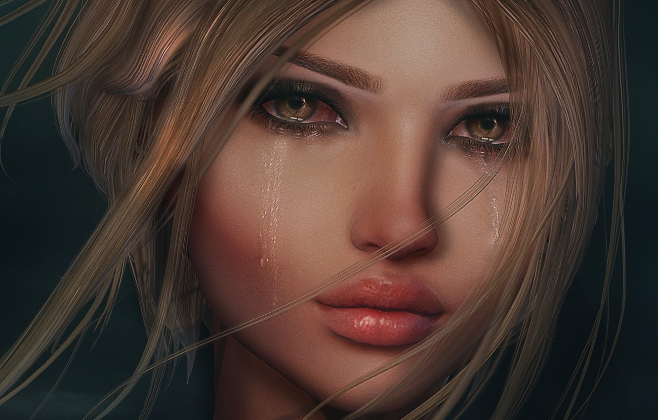 Photo wallpaper sadness, girl, face, tears