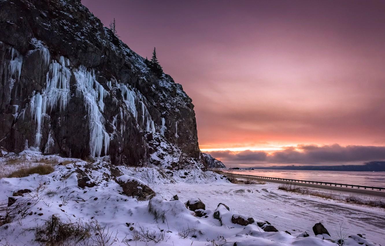Photo wallpaper road, sunset, river, mountain
