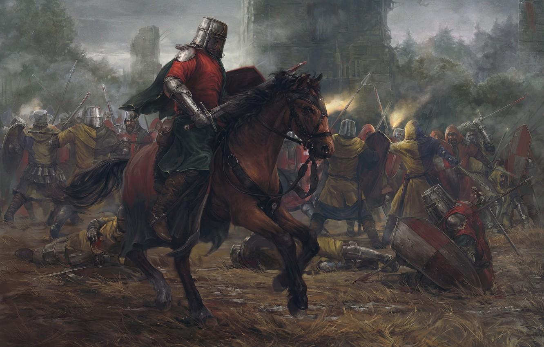 Photo wallpaper forest, castle, horse, tower, battle, Battle, knights