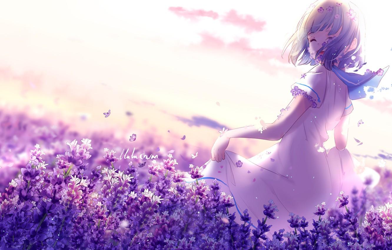 Photo wallpaper happiness, flowers, nature, schoolgirl, by lluluchwan