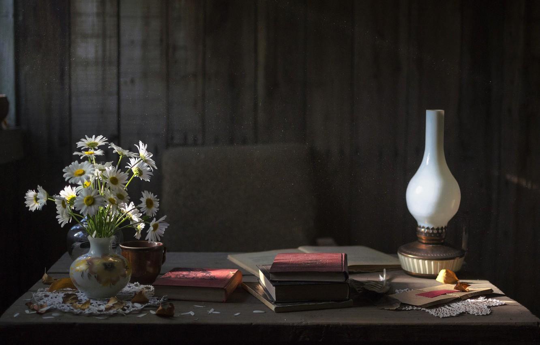 Photo wallpaper autumn, flowers, comfort, tree, mood, calm, books, lamp, chamomile, dust, peace, so