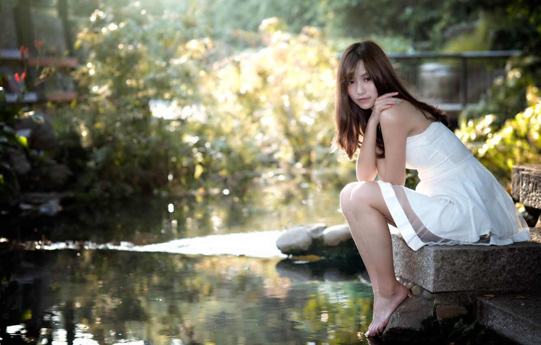 Photo wallpaper girl, dress, Asian, the water, Chang