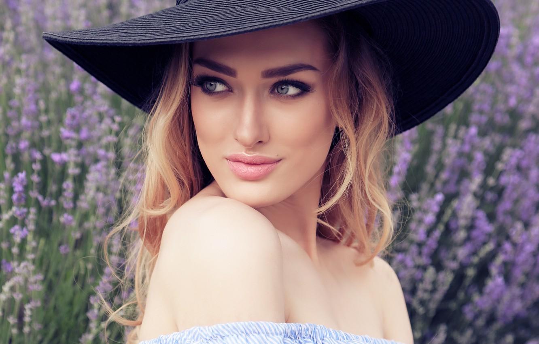 Photo wallpaper look, girl, model, portrait, makeup, blonde, hat, lavender, manicure