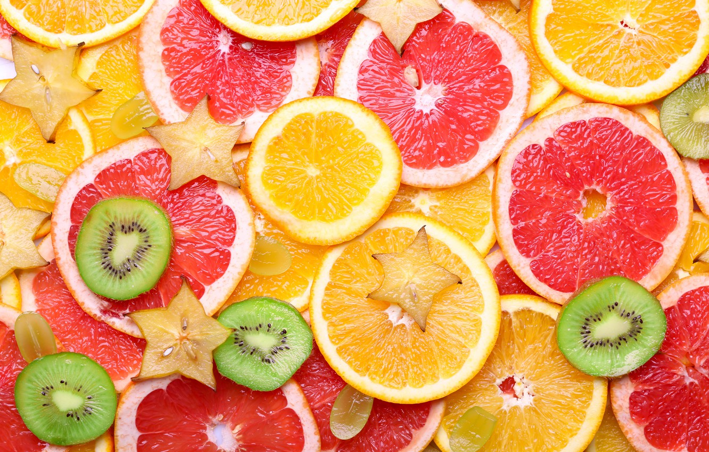 Photo wallpaper orange, texture, kiwi, grapes, fruit, citrus, slices, fruit, orange, citrus, grapefruit, carambola, grapefruit