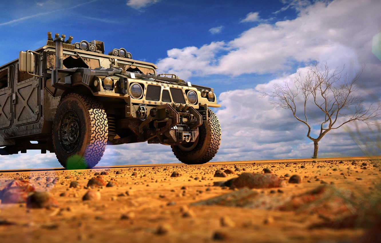 Photo wallpaper sand, tree, desert, SUV, desert, military, hummer h1, protector, winch, Off-road, Djordje Jovanovic