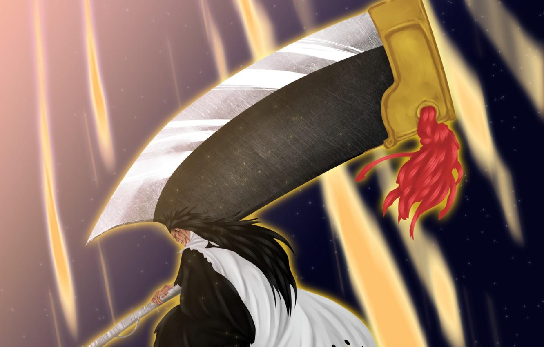 Photo wallpaper battlefield, sword, game, Bleach, devil, long hair, big, war, anime, katana, man, fight, ken, blade, …