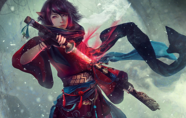 Photo wallpaper girl, sword, ears, Square Enix, art, Final Fantasy XIV