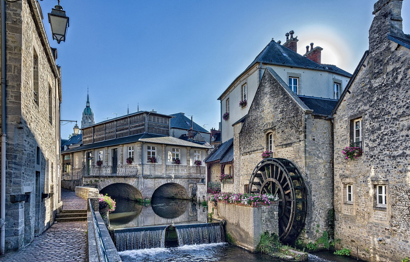 Photo wallpaper flowers, river, France, building, home, cascade, promenade, water mill, France, Normandy, Normandy, Aire River, the …