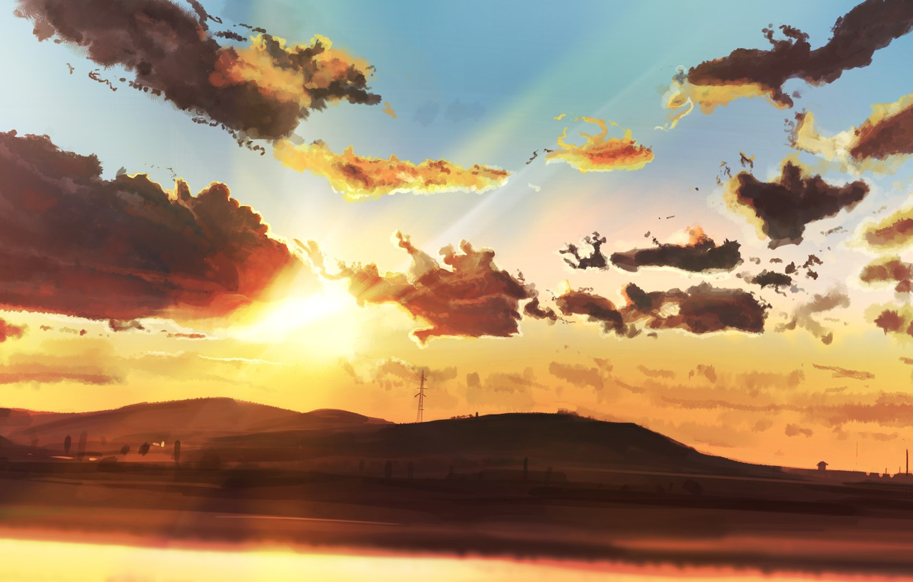 Photo wallpaper the sky, the sun, clouds, mountains