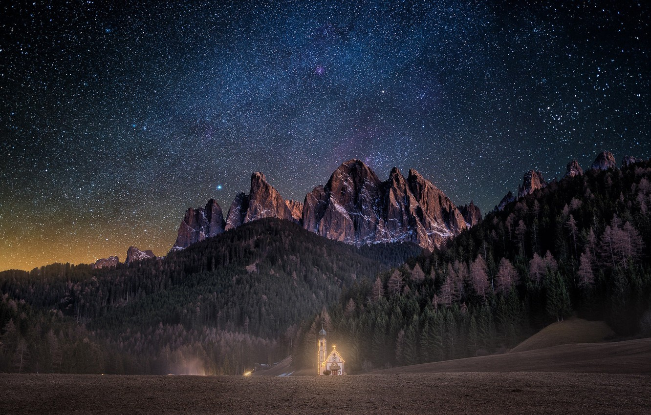 Photo wallpaper forest, the sky, stars, light, mountains, night, Alps, Church