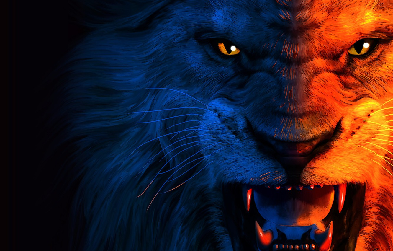 Photo wallpaper predator, art, grin, lion, The King, jean pierre