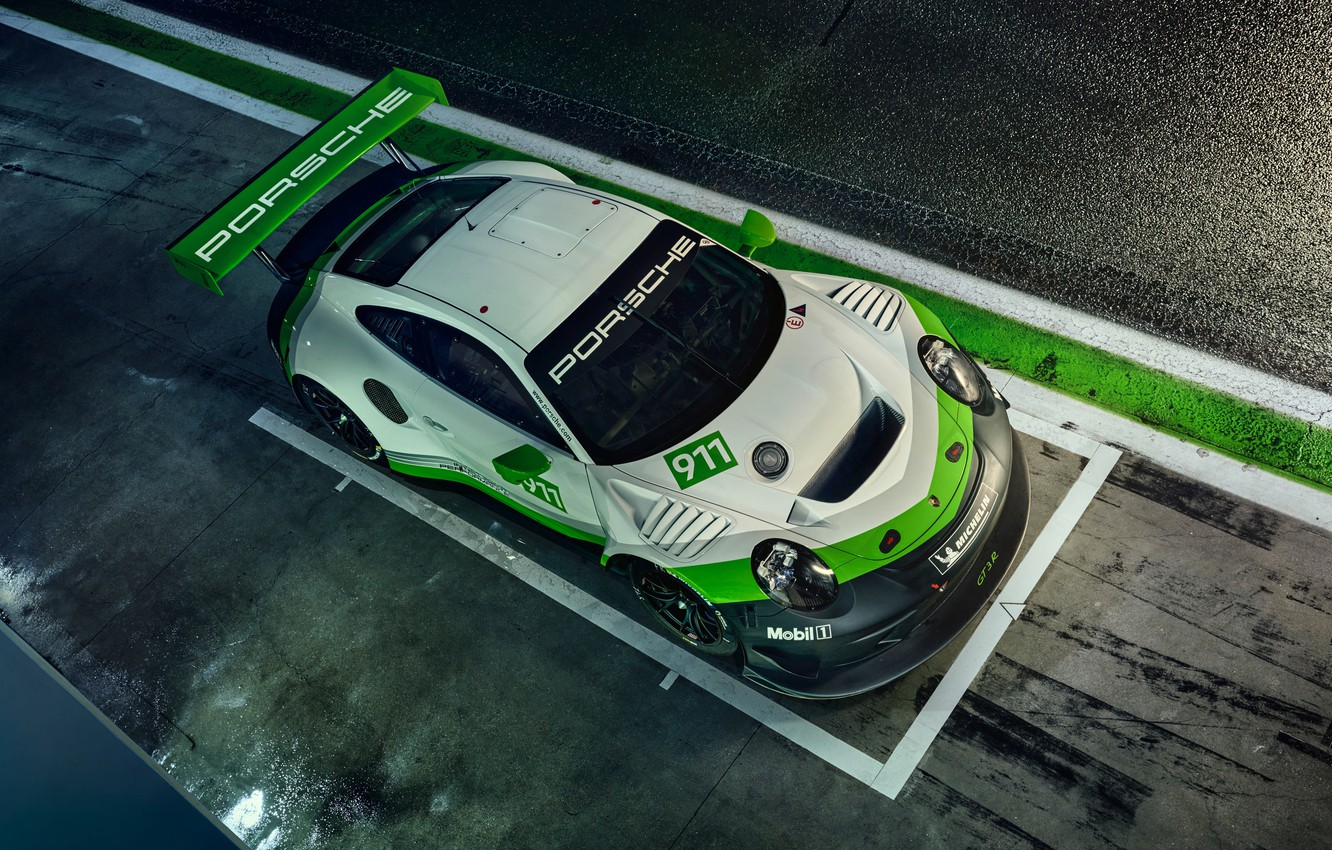 Photo wallpaper 911, Porsche, racing car, the view from the top, GT3 R, 2019