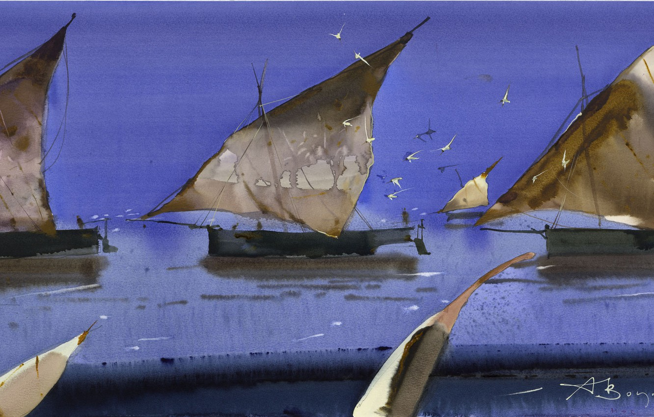 Photo wallpaper seagulls, ships, sails, Arusha Vozmus, Nose to nose.