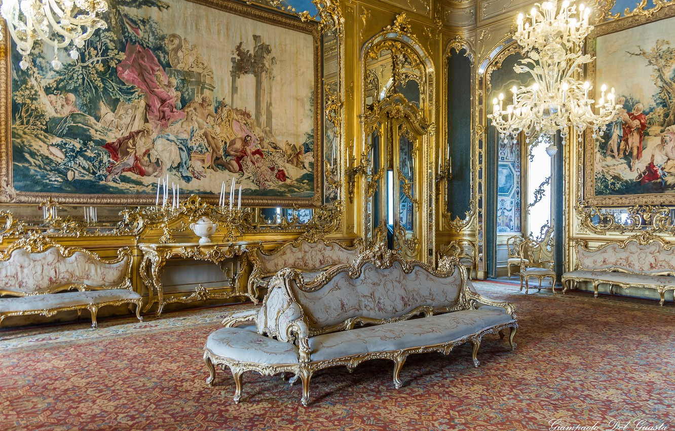Photo wallpaper interior, carpet, candles, mirror, Rome, Italy, hall, Italy, sofas, Rome, chandeliers, tapestries, Quirinal Palace, Quirinal …