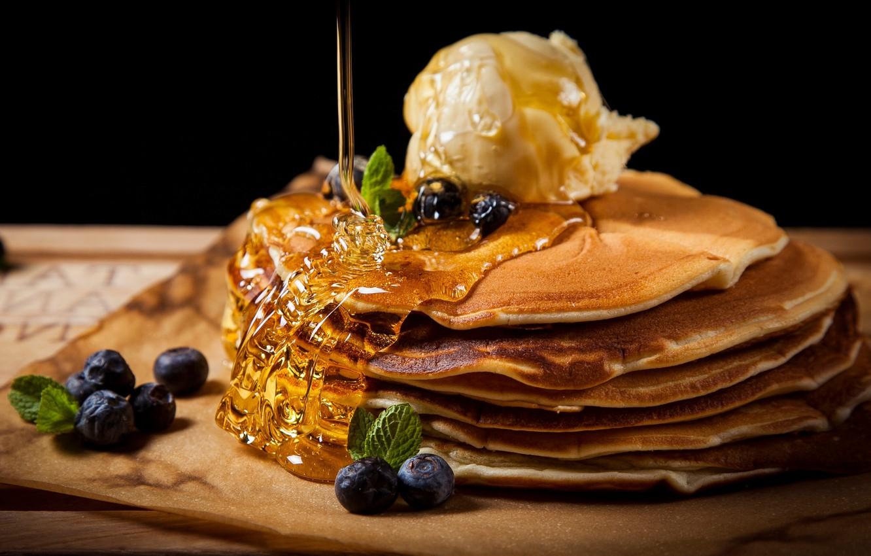 Photo wallpaper berries, ice cream, pancakes, honey
