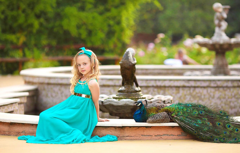 Photo wallpaper Park, bird, girl, peacock