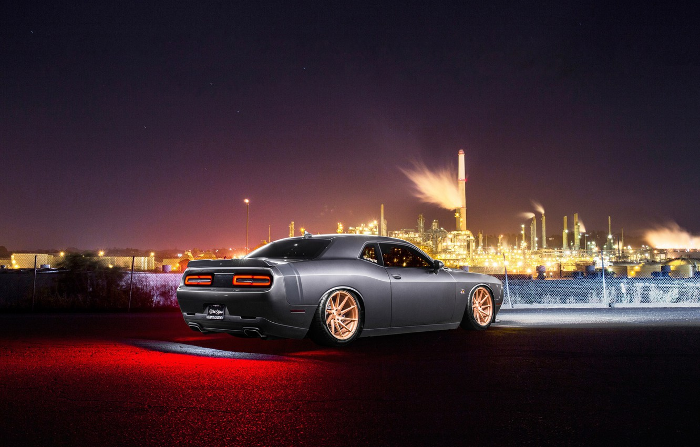 Photo wallpaper Dodge, Challenger, Car, Rear, Avant Garde Wheels