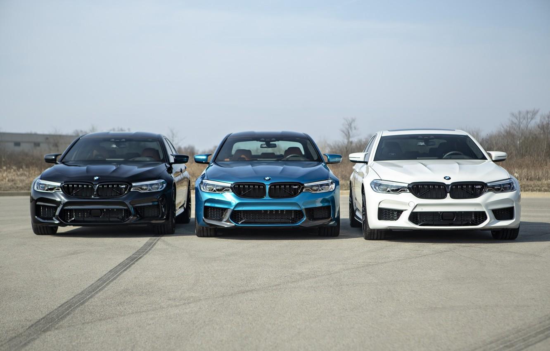 Photo wallpaper BMW, Blue, Black, White, Trio, Sight, LED, F90
