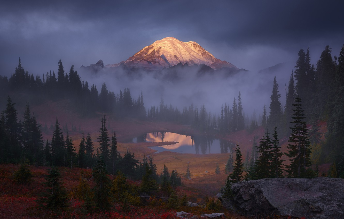 Photo wallpaper forest, the sky, trees, clouds, fog, lake, rocks, mountain, USA
