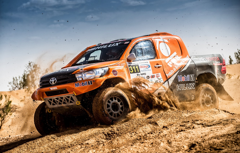 Photo wallpaper Sand, Auto, Sport, Machine, Race, Orange, Toyota, Hilux, Rally, SUV, Rally, Toyota, Hilux, The roads, …