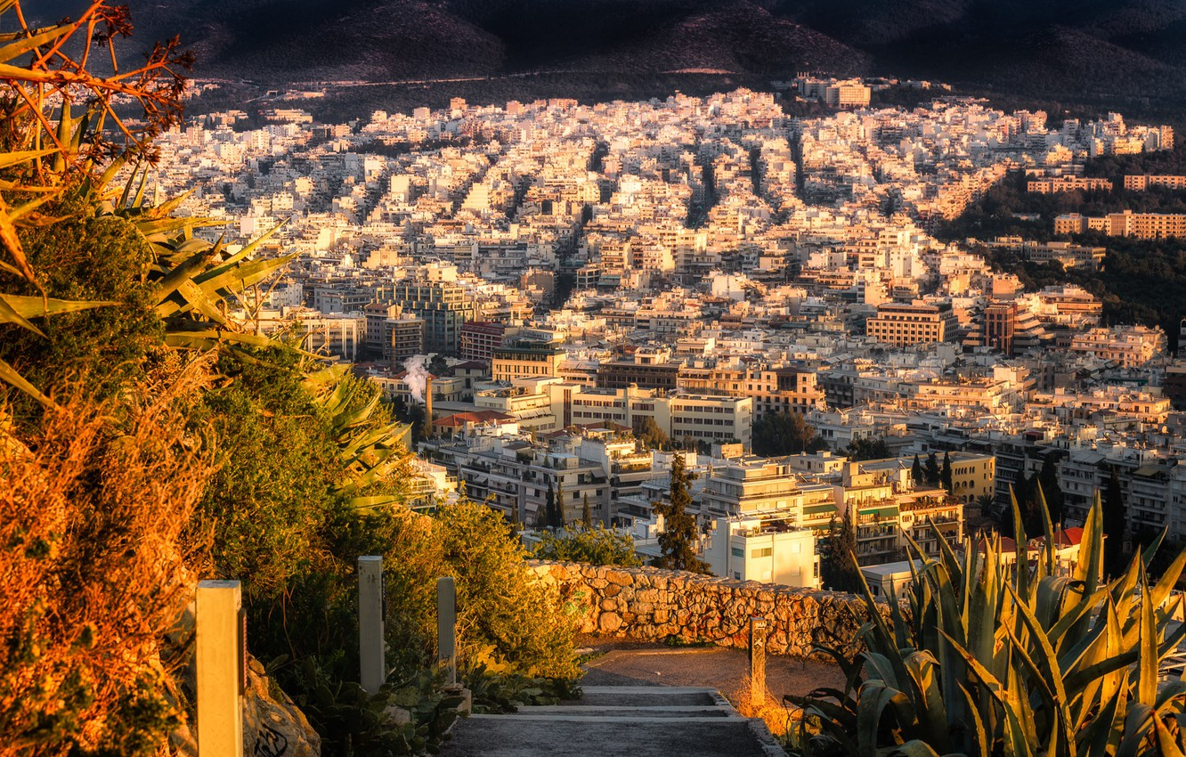 Photo wallpaper autumn, the sun, home, Greece, panorama, the view from the top, Athens