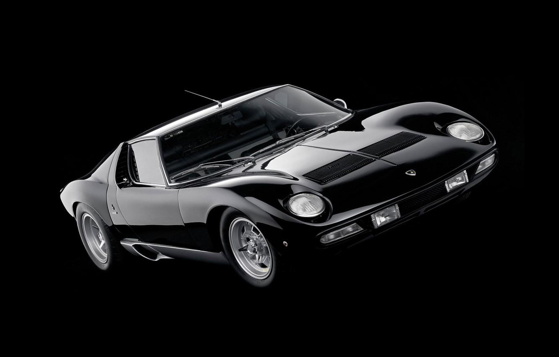 Photo wallpaper Auto, Black, Lamborghini, Machine, Background, 1971, Lights, Car, Supercar, Lamborghini Miura, P400, SVJ, Lamborghini Miura …