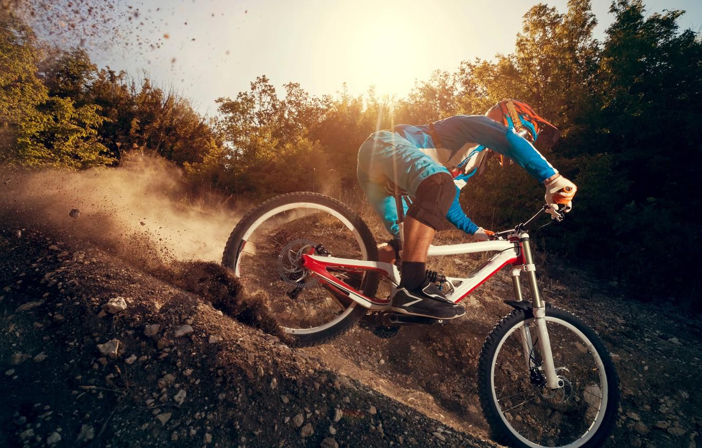 Photo wallpaper Mountain, Sport, Bike, The descent
