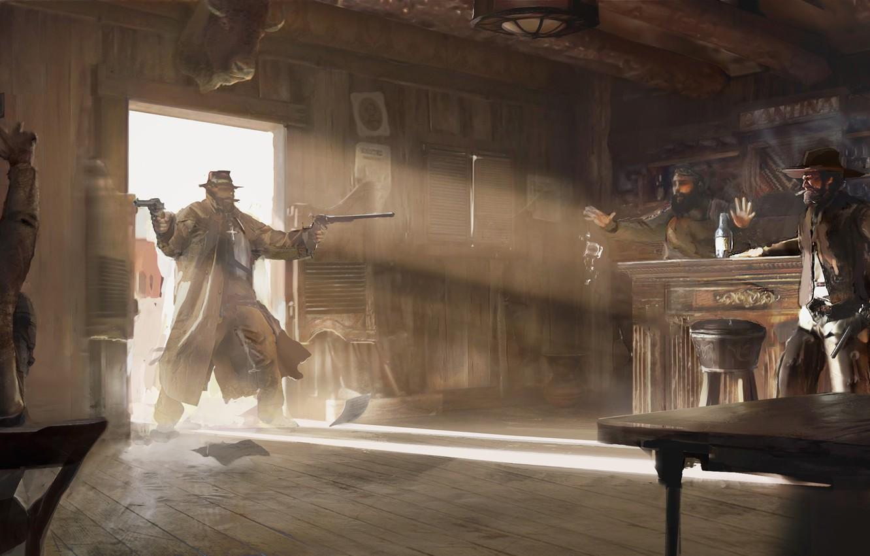 Photo wallpaper bar, men, The Gunslinger