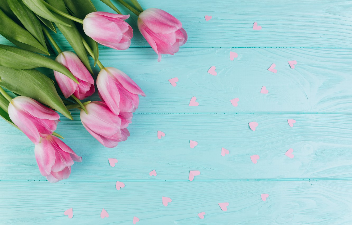 Photo wallpaper flowers, Spring, Tulips, hearts, Background, flowers, Spring, Background, Tulips