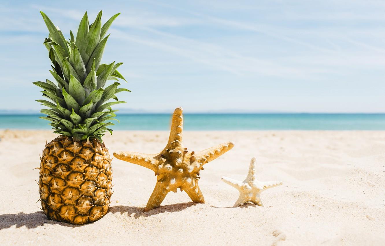 Photo wallpaper sand, sea, beach, summer, stay, star, summer, pineapple, beach, vacation, sea, sand, pineapple, vacation, starfish
