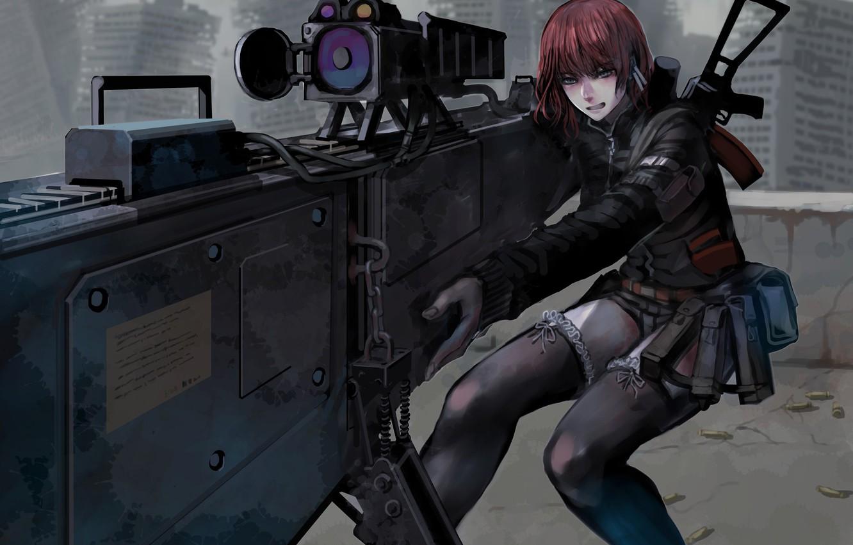 Photo wallpaper girl, gun, weapon, anime, rifle, japanese