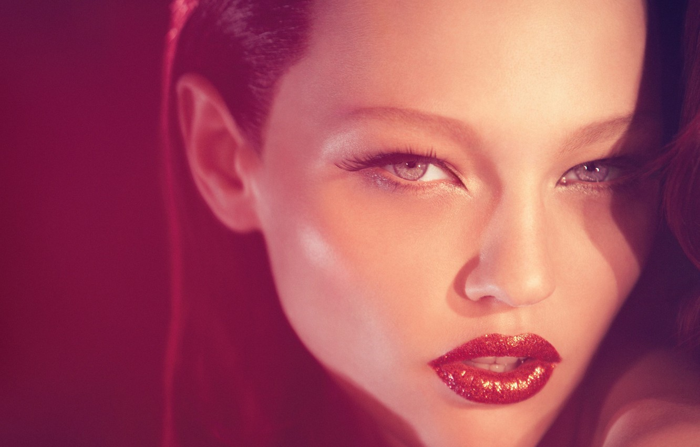 Photo wallpaper girl, lips, red background, Russian model, Sasha Pivovarova, Pivovarova, Marsianka