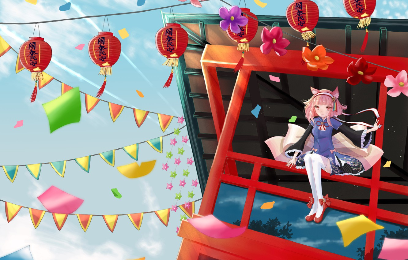 Photo wallpaper girl, flowers, neko, lanterns, flags