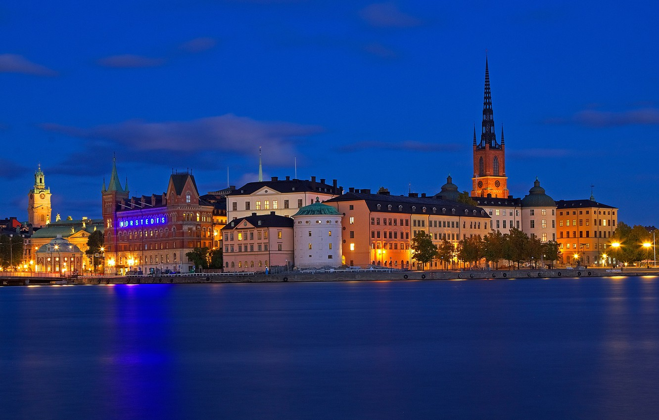 Photo wallpaper sea, night, lights, home, Stockholm, Sweden