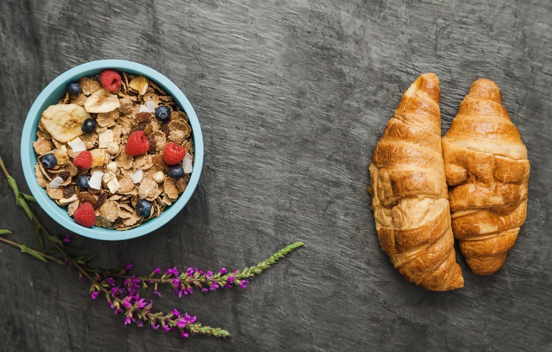 Photo wallpaper flowers, berries, Breakfast, croissant, muesli