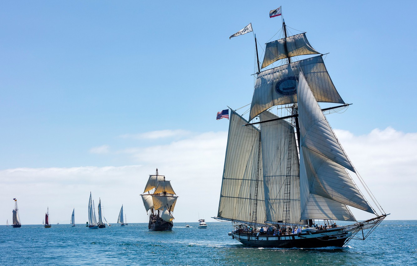 Photo wallpaper sea, yachts, CA, sails, California, sailboats, schooner,