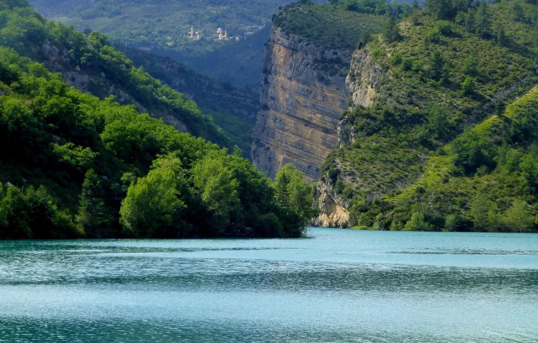 Photo wallpaper lake, rocks, France, Chaudanne, Castellane