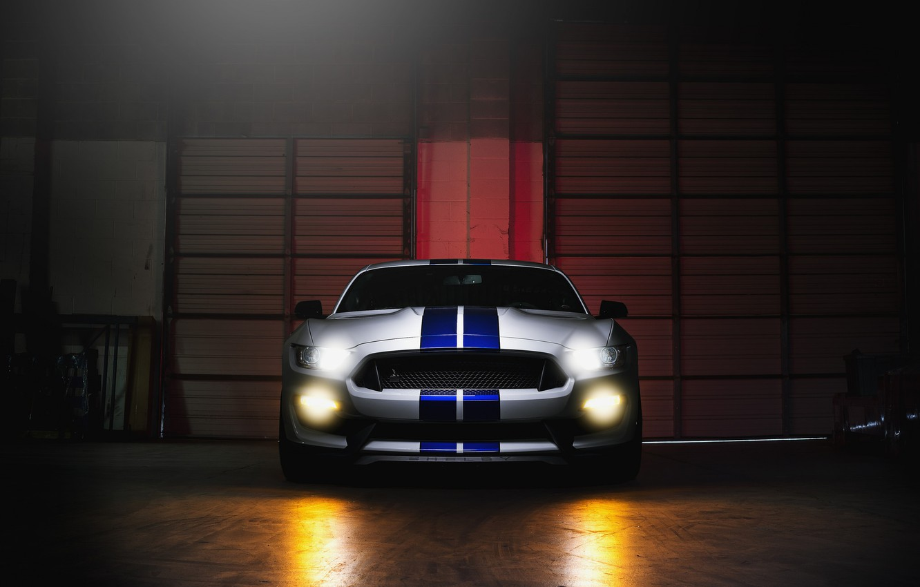 Photo wallpaper Mustang, Ford, Shelby, GT500, Light, Front, White, Sight