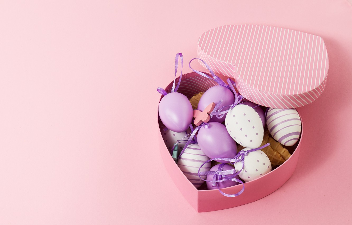 Photo wallpaper box, heart, eggs, Easter, box, heart, pink, spring, Easter, eggs, decoration, Happy