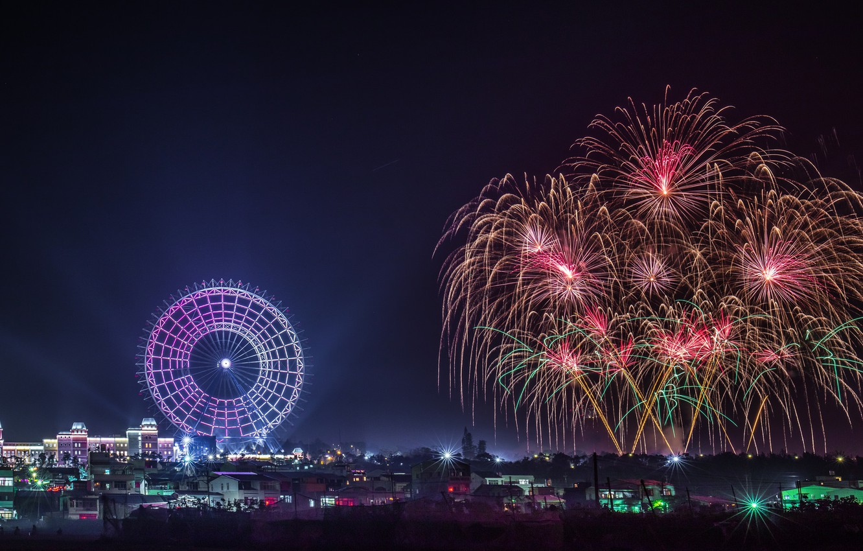 Photo wallpaper night, the city, salute, Ferris wheel
