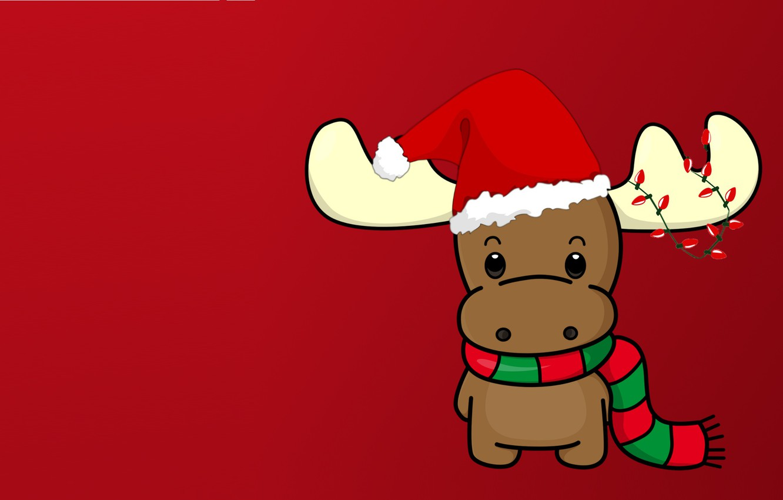 Photo wallpaper winter, holiday, new year, minimalism, vector, deer, art, garland, scarf, cap, children's